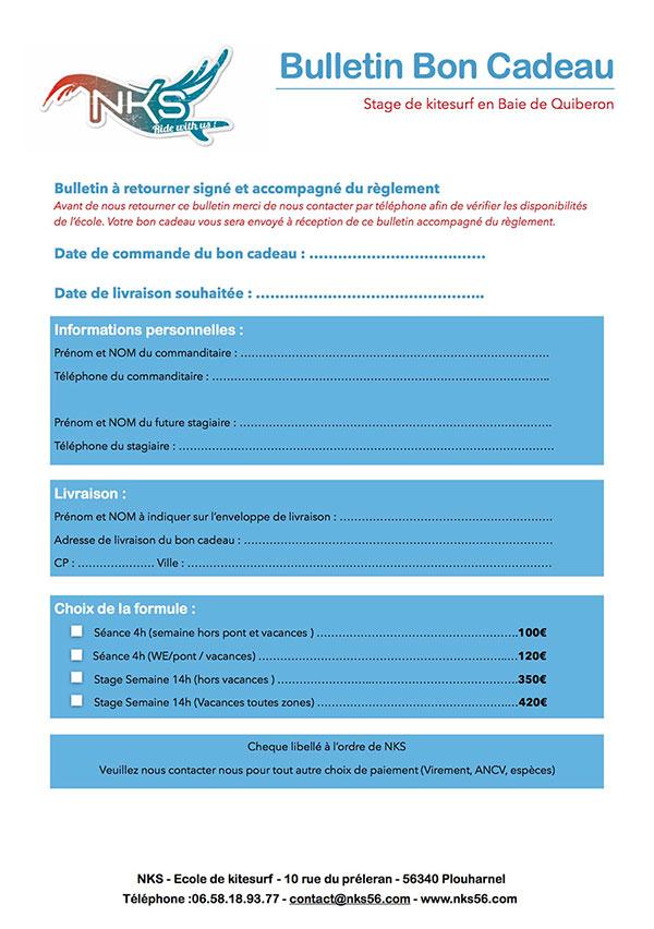 Bulletin pour offrir un bon cadeau NKS, école de kitesurf