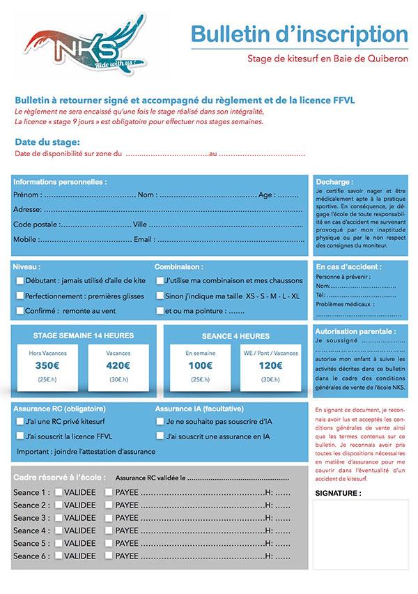Bulletin d'inscription pour un stage de kitesurf avec NKS