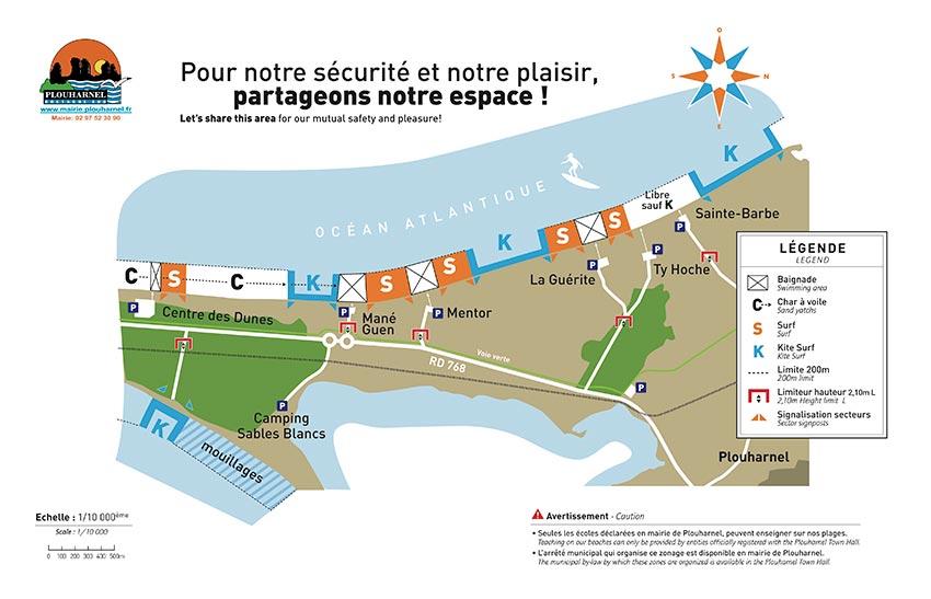Carte des spots à Plouharnel dans le Morbihan